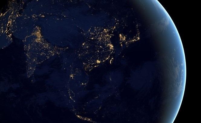夜の地球と天の川